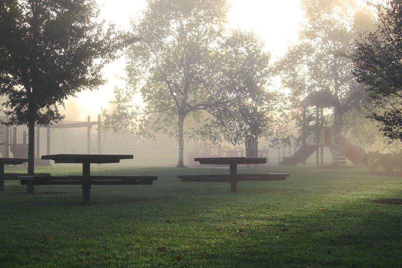 Mañana de niebla del parque fotos de archivo