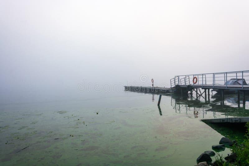 Mañana de niebla en el río Volga foto de archivo libre de regalías