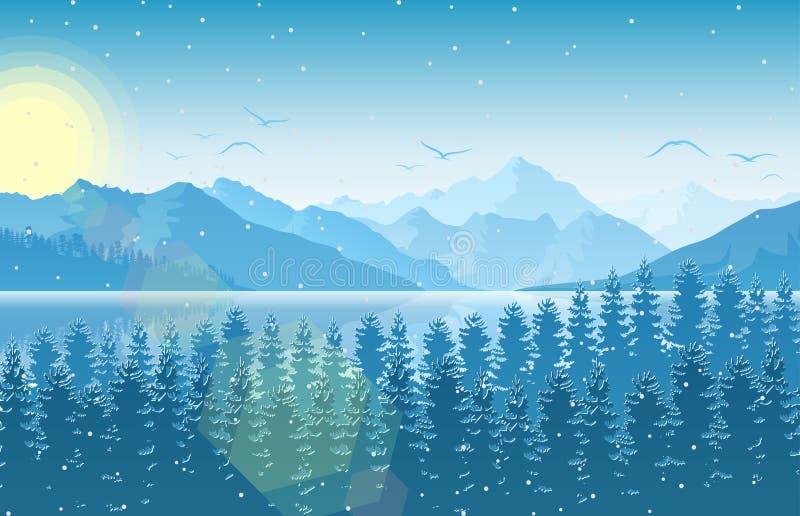 Mañana del invierno en paisaje de la montaña con el bosque y el río stock de ilustración