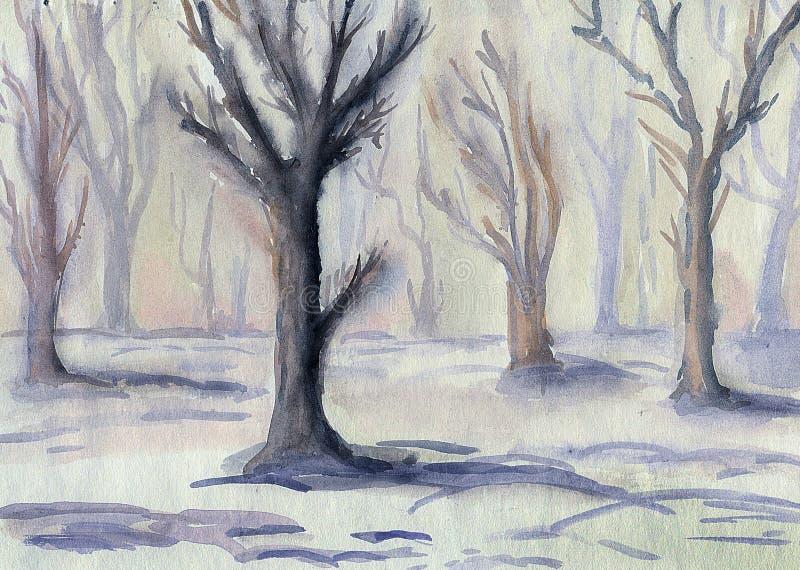 Mañana en el bosque del invierno Paisaje libre illustration