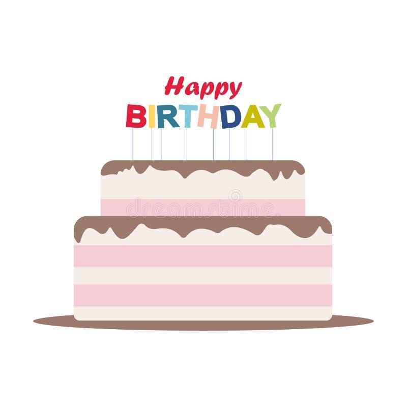 Mañana en el lago en montañas gigantes en Polonia Elementos de la fiesta de cumpleaños de la tarjeta de la torta del feliz cumple ilustración del vector