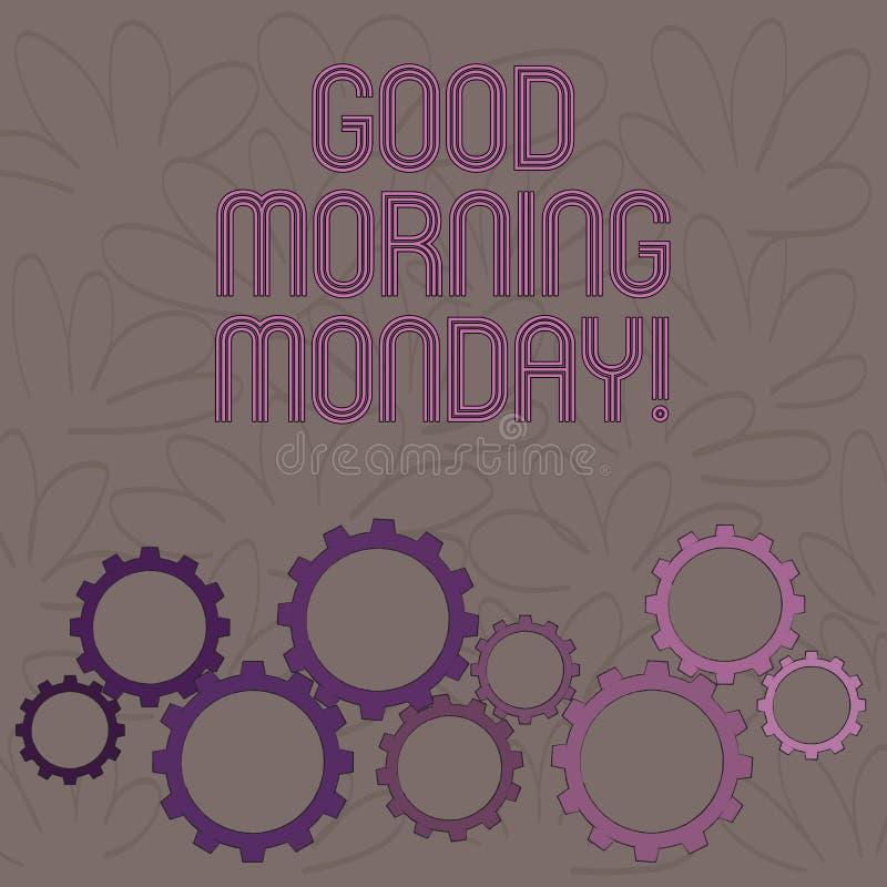 Mañana lunes del texto de la escritura buena Desayuno enérgico de la positividad feliz del significado del concepto ilustración del vector