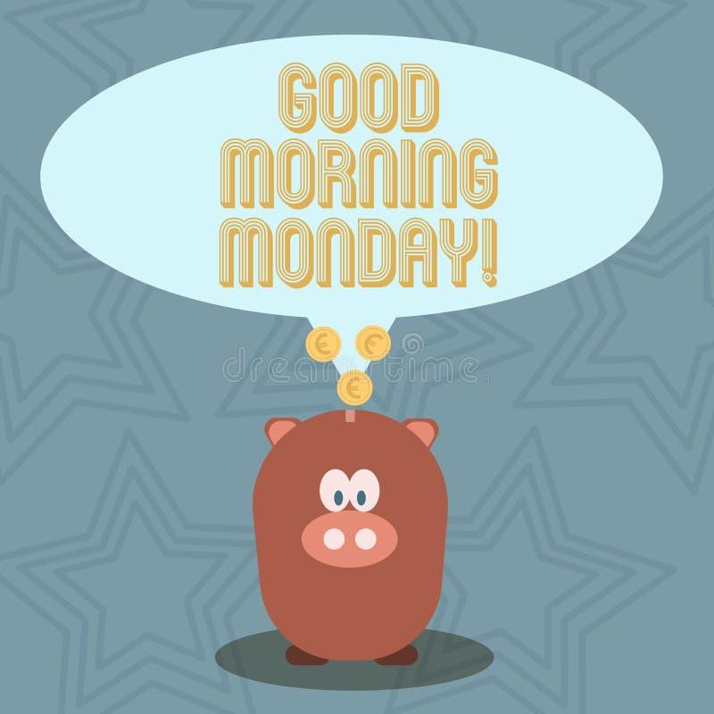 Mañana lunes del texto de la escritura buena Desayuno enérgico de la positividad feliz del significado del concepto libre illustration