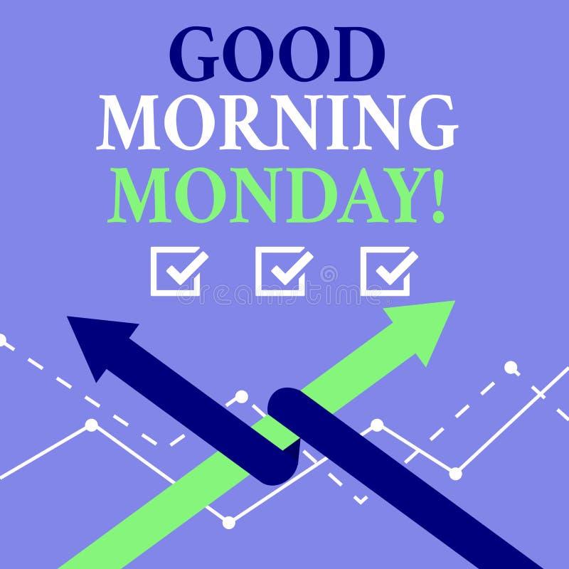 Mañana lunes del texto de la escritura de la palabra buena Concepto del negocio para el desayuno enérgico de la positividad feliz ilustración del vector