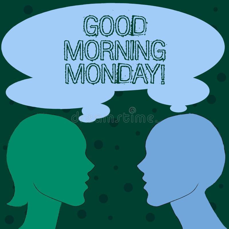 Mañana lunes del texto de la escritura de la palabra buena Concepto del negocio para el desayuno enérgico de la positividad feliz stock de ilustración