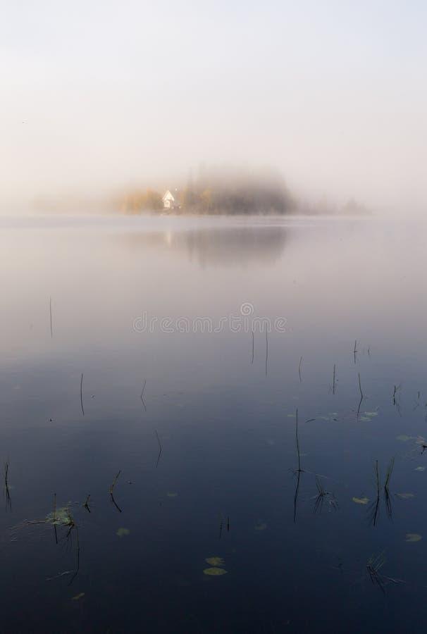 Mañana otoñal de niebla por el lago Luz natural de la salida del sol Área de Strondheim en Noruega imágenes de archivo libres de regalías