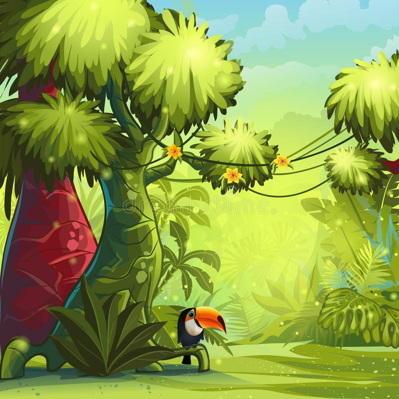 Mañana soleada en la selva con el tucán del pájaro ilustración del vector