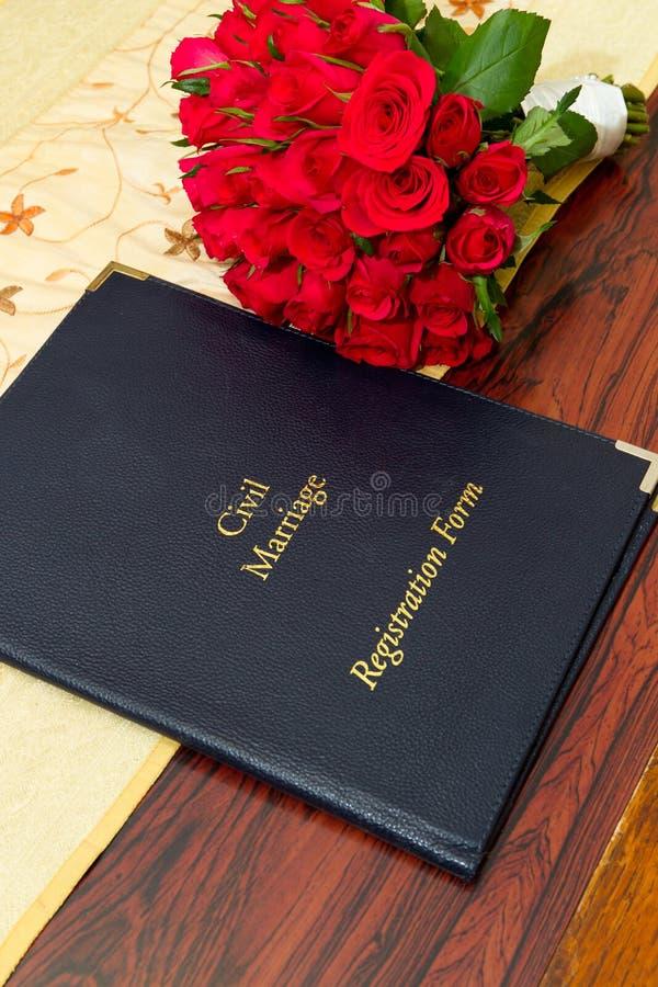małżeństwo cywilna formularzowa rejestracja obrazy stock