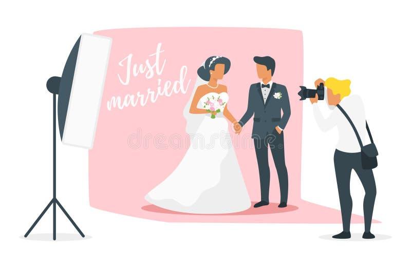 Małżeństwo dnia fotografii sesja ilustracji