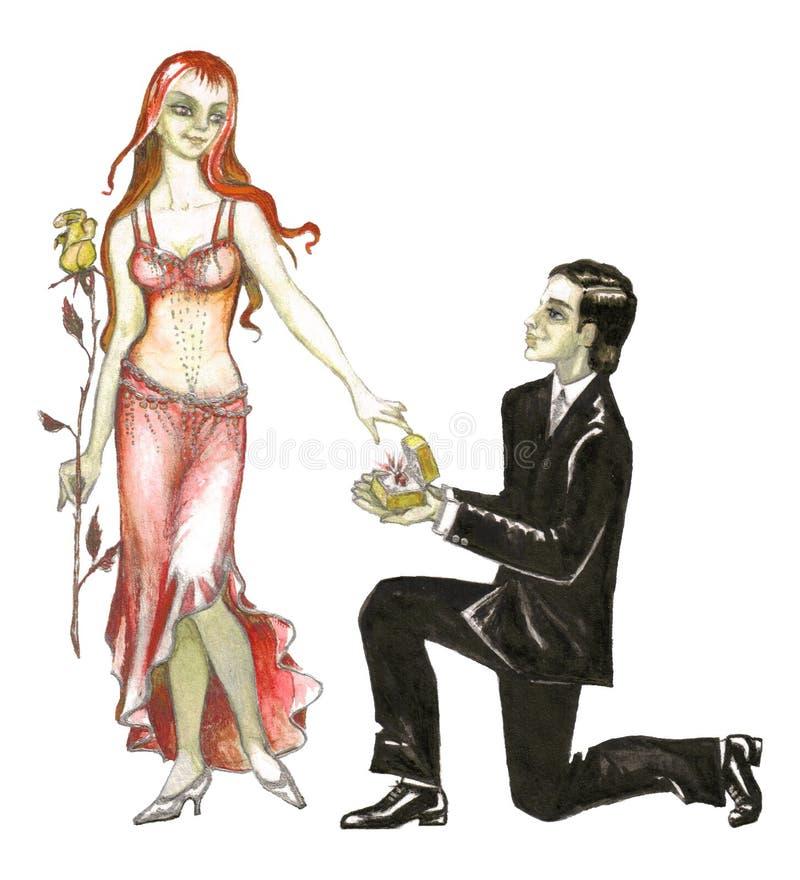 małżeństwo ilustracyjny propozycji akcje royalty ilustracja