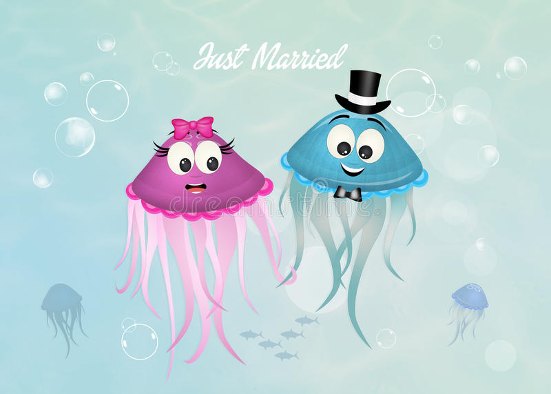 Małżeństwo jellyfish ilustracja wektor
