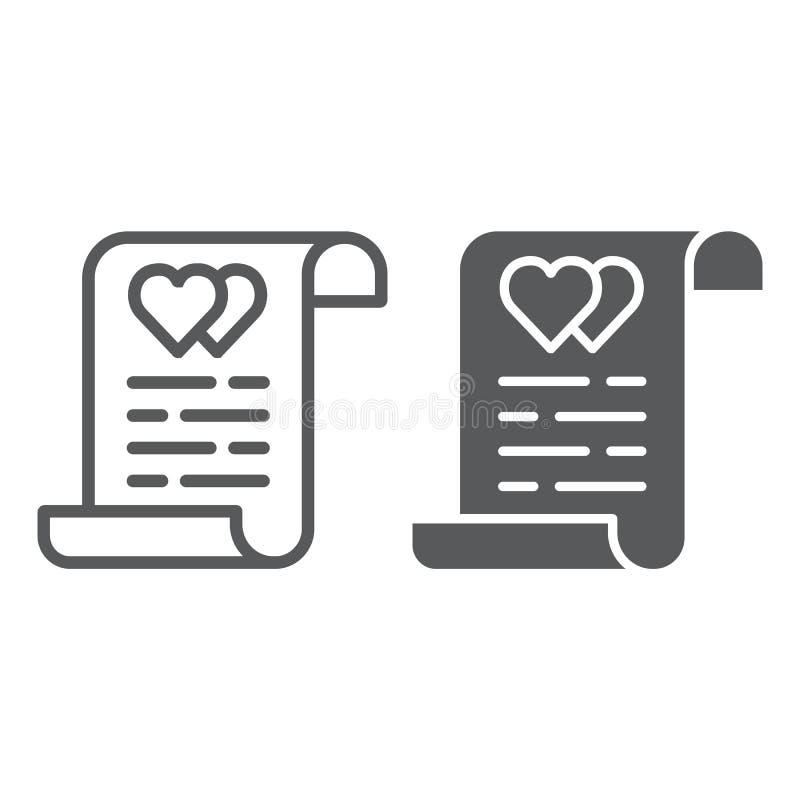 Małżeństwo kontrakta linia, glif ikona, dokument i zgoda, małżeństwa ubezpieczenia znak, wektorowe grafika, liniowy ilustracja wektor