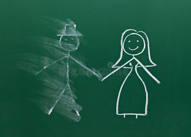 Małżeństwo pary rysunek na kredowej deski rozwodzie łama up smudged royalty ilustracja