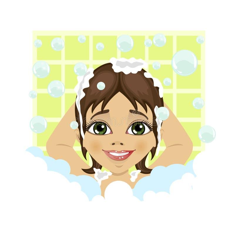 Mała śliczna dziewczyna myje jej włosy z mydło pianą i bąble w łazience ilustracja wektor