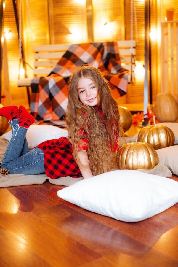 Mała śliczna dziewczyna z długim kędzierzawym włosy blisko bani w czerwonej w kratkę koszula i huśtawki zdjęcia royalty free