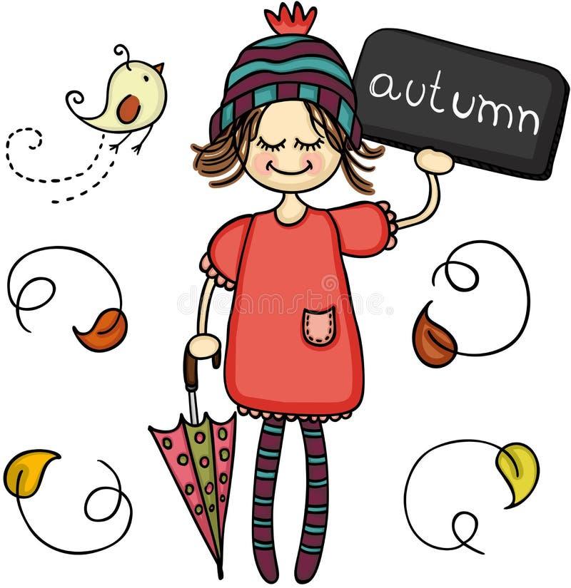 Mała śliczna jesieni dziewczyna ilustracja wektor