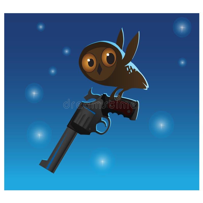 Mała śliczna sowa kraść dużego pistolet, błękitny tło royalty ilustracja