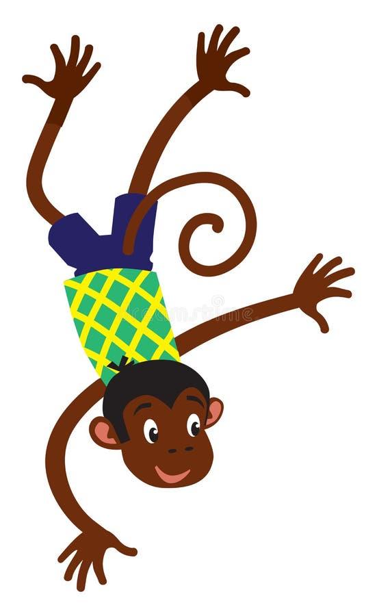 Mała śmieszna małpa ilustracja wektor