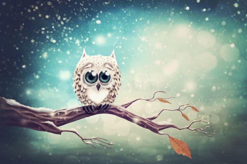 Mała śnieżna sowa royalty ilustracja