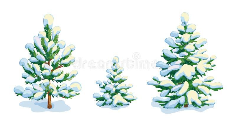 Mała śnieżysta sosna i dwa jedlinowego drzewa Wektorowy dwawing ilustracja wektor