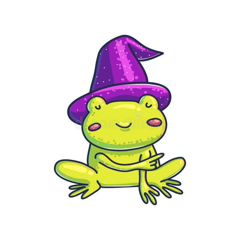 Mała żaba w czarownica kapeluszu wskazuje daleko od royalty ilustracja