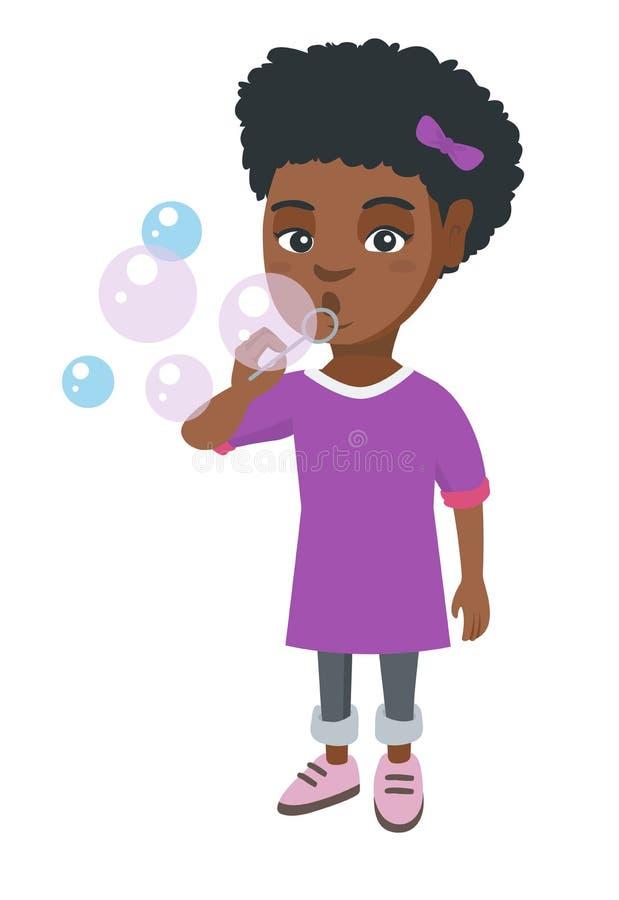 Mała afroamerykańska dziewczyna dmucha mydlanych bąble royalty ilustracja