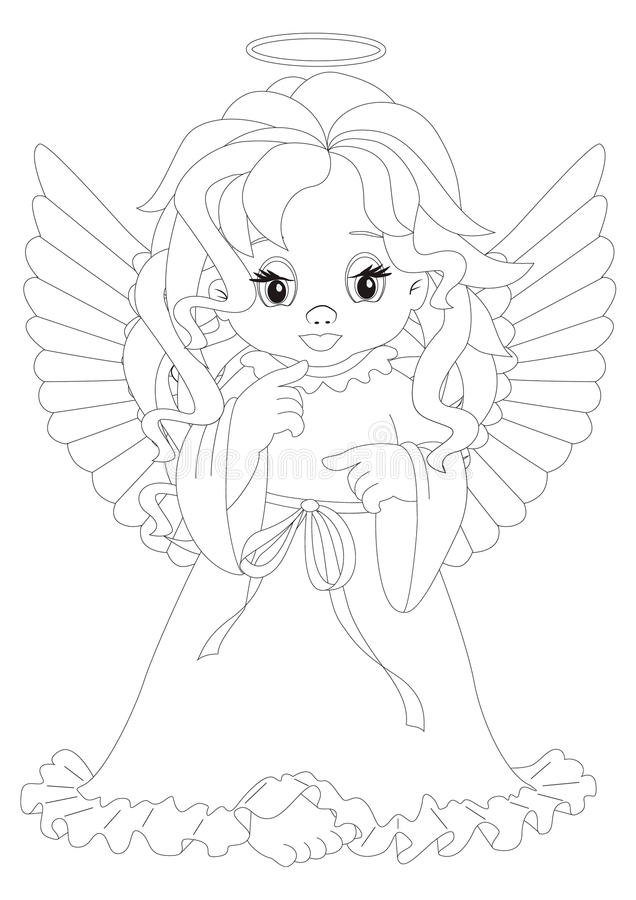 Mała anioł kolorystyki strona ilustracja wektor