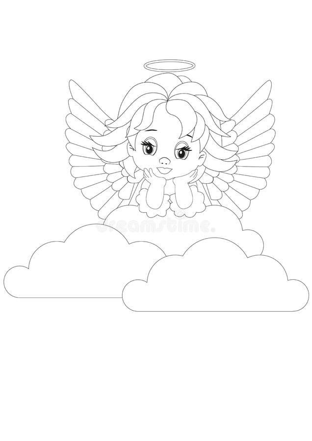 Mała anioł kolorystyki strona royalty ilustracja