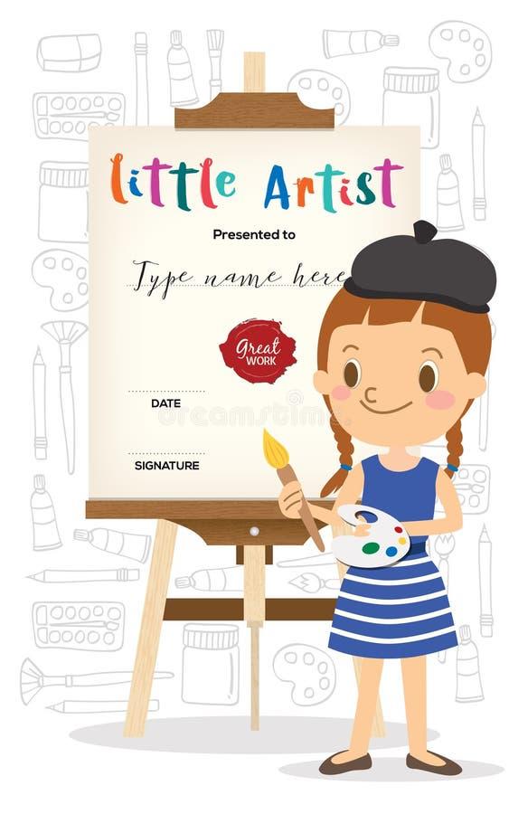 Mała artysta kreskówki pozycja przed drewnianą sztalugą ilustracji