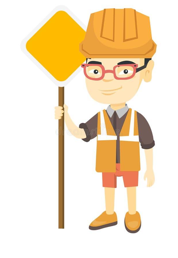 Mała azjatykcia budowniczy chłopiec trzyma drogowego znaka ilustracja wektor