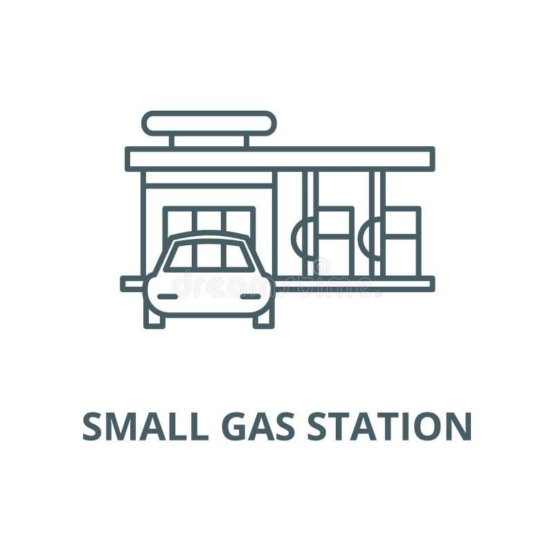 Mała benzynowej stacji wektoru linii ikona, liniowy pojęcie, konturu znak, symbol royalty ilustracja