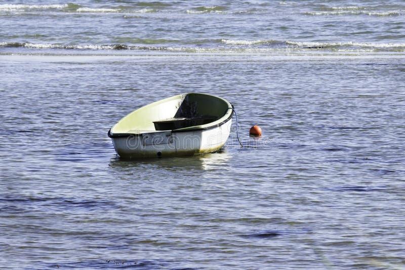 Mała biała i zielona wioślarska łódź na morzu zdjęcie royalty free