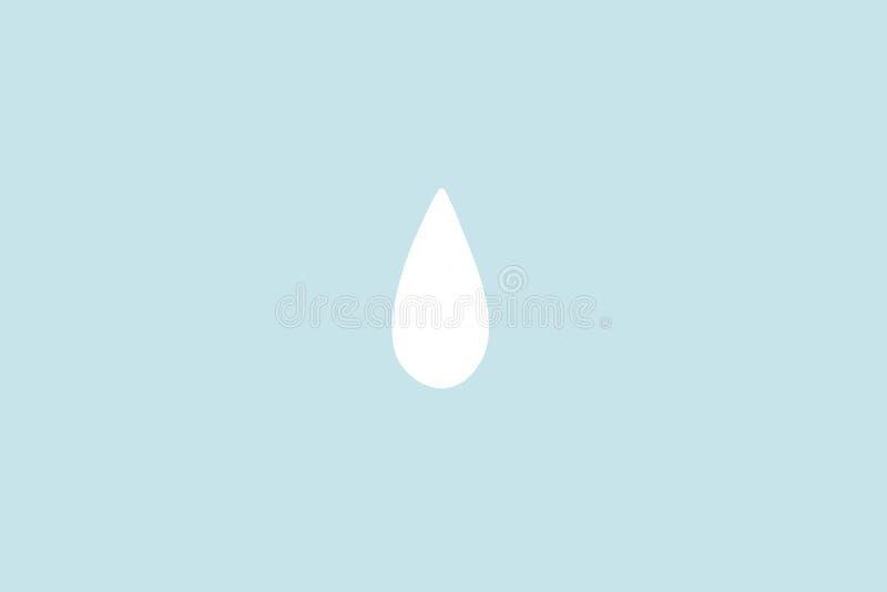 Mała białej wody kropla lub Raindrop z cyan pastelowym tłem Abstrakcjonistyczny minimalizm Farby kresk?wki styl zdjęcie royalty free