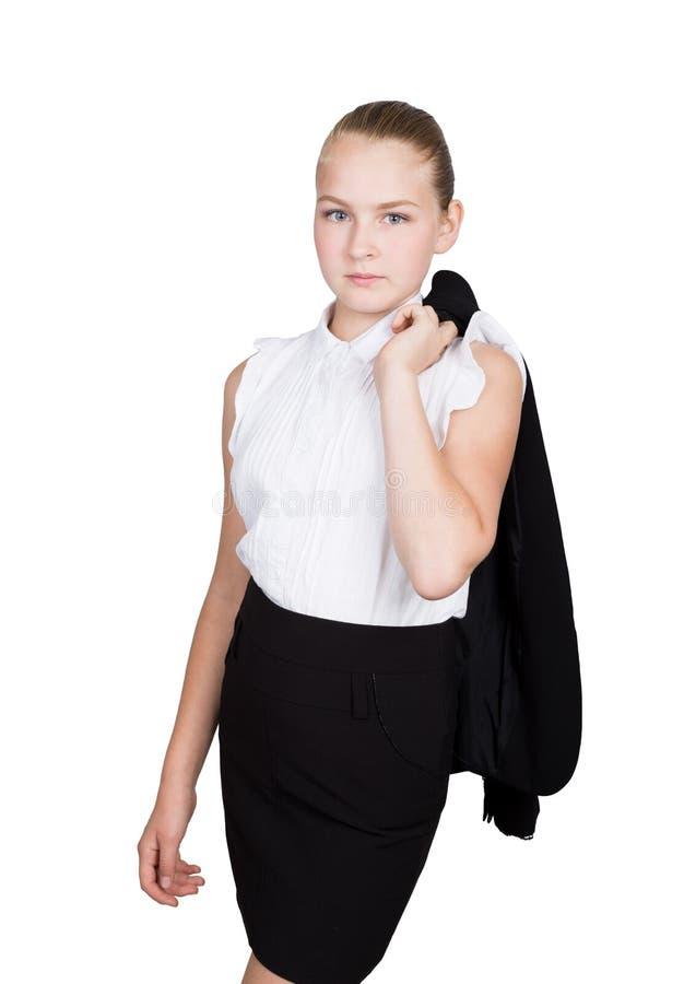 Mała biznesowa kobieta Pracowniany portret dziecko dziewczyna w biznesu stylu Studio odizolowywający na białym tle fotografia royalty free