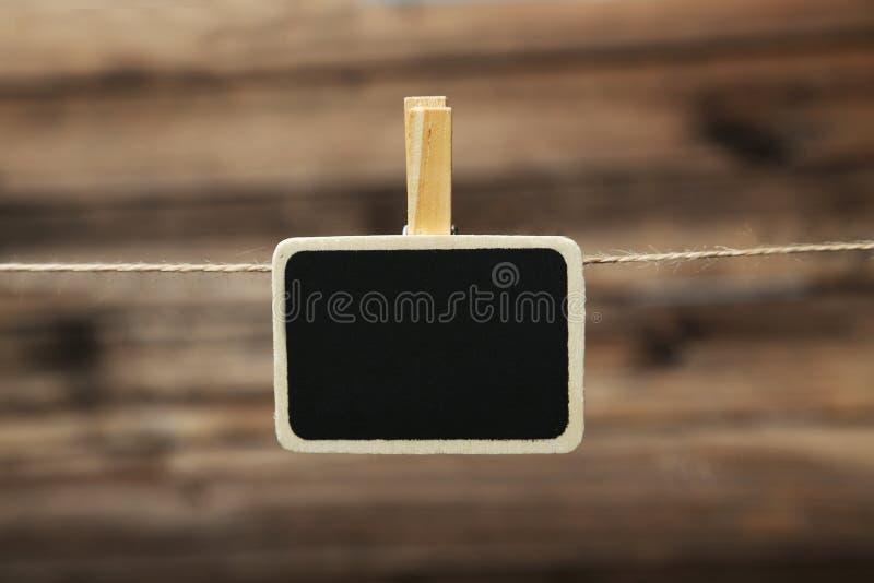 Mała blackboard łupku kredowej deski klamerka z przestrzenią dla teksta obraz stock