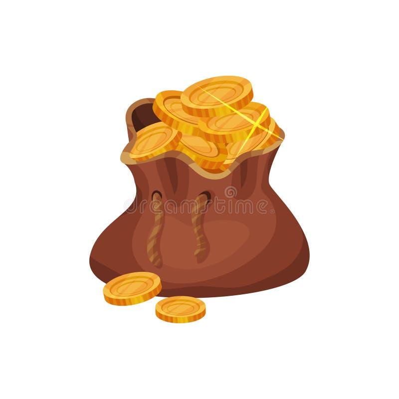 Mała brown torba pełno złote monety Pojęcie finanse Piratów skarby Symbol bogactwo Kreskówki wektorowa ikona wewnątrz royalty ilustracja