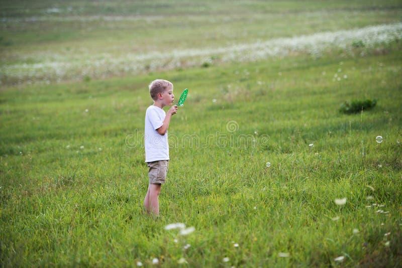 Mała chłopiec w naturze na letnim dniu, dmucha mydlanych bąble zdjęcia royalty free