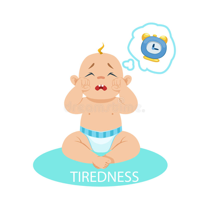 Mała chłopiec W pielusze Męczył I Chce Spać, część powody niemowlak Jest Nieszczęśliwa I Płacze kreskówkę royalty ilustracja