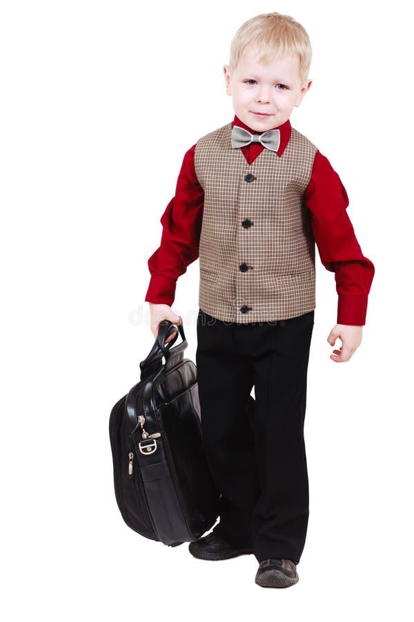 mała chłopiec walizka fotografia stock