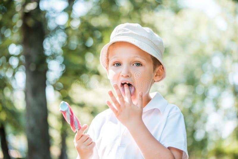 Mała chłopiec z powabnymi niebieskimi oczami trzyma lody i robi zdziwionej twarzy podczas gdy chodzący w parku fotografia royalty free