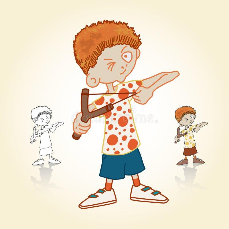 Mała chłopiec z slingshot royalty ilustracja