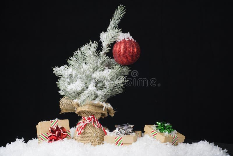 Mała choinka z jeden czerwonym ornamentem zawijającym w burlap cov zdjęcia stock