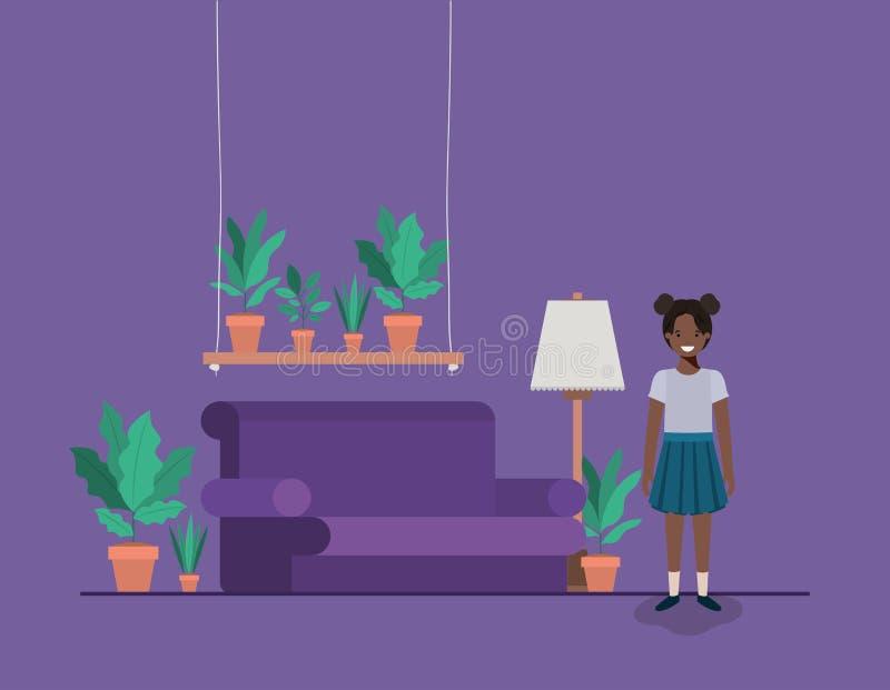 Mała czarna dziewczyna w pokoju dziennym ilustracja wektor