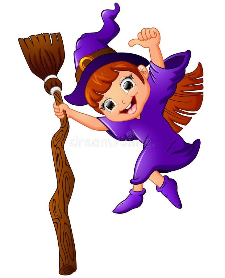 Mała czarownicy kreskówki mienia miotła i dawać up kciuk royalty ilustracja