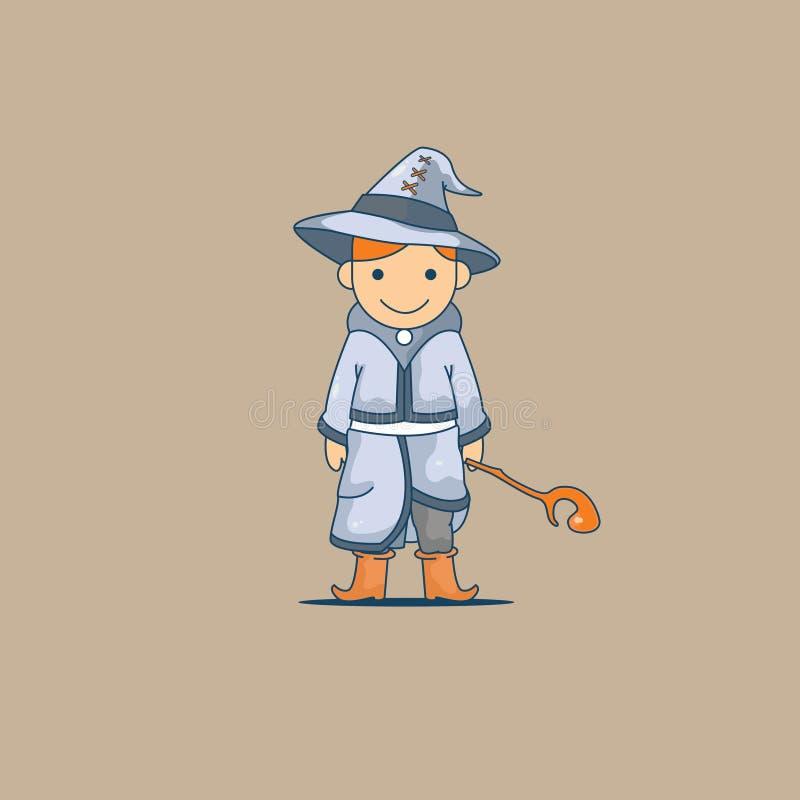 Mała czarownik kreskówka używa magiczną różdżkę ilustracja wektor