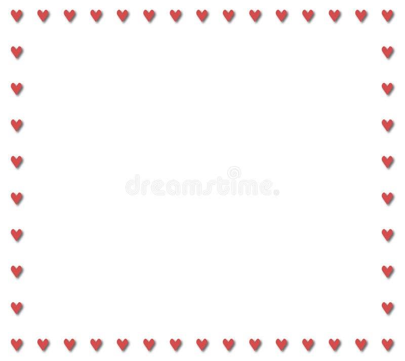 Mała czerwona serce granica obraz stock