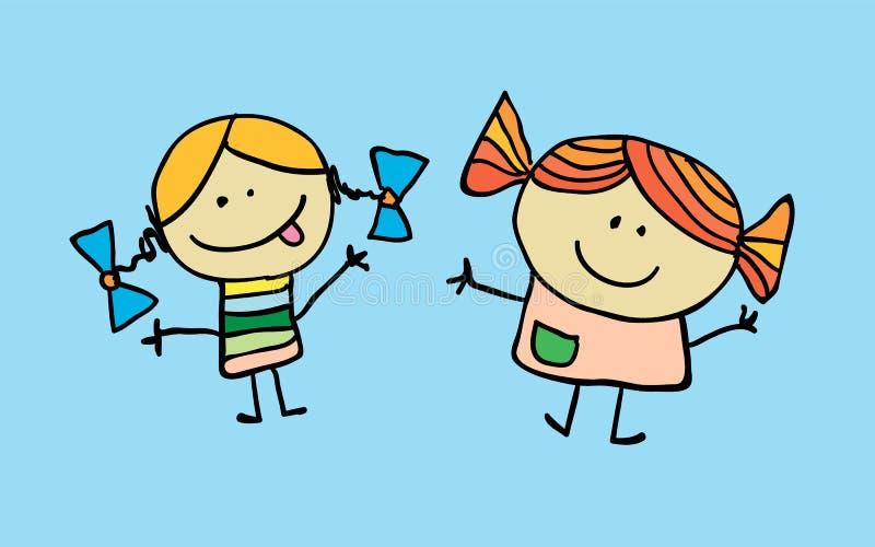 Mała dwa dziewczyny mieli przyjaźń ilustracji