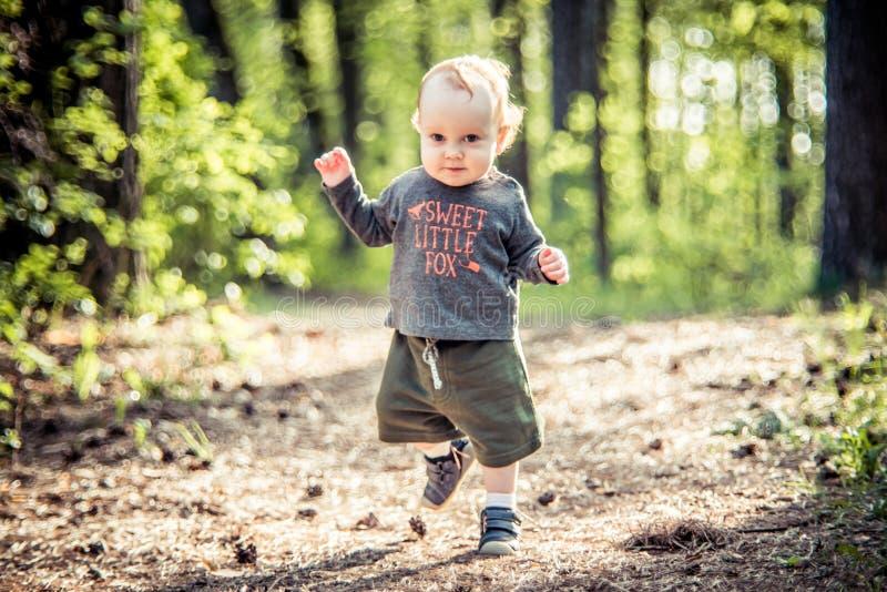 mała dzieciak samiec w lesie obraz stock