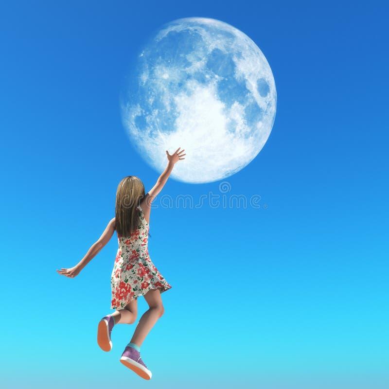 Mała dziewczyna dosięga z jej ręką dla księżyc ilustracja wektor