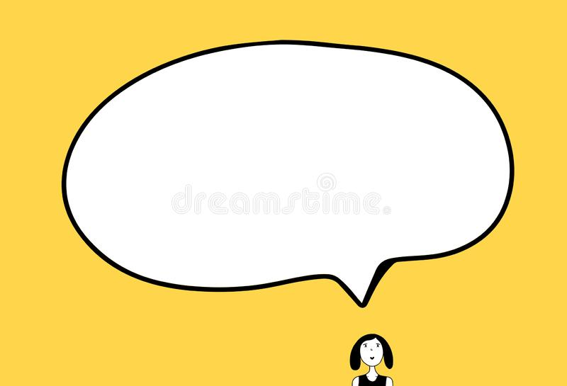 Mała dziewczyna i duża ręka rysująca mowa bąbla ilustracja w kreskówce projektujemy zdjęcie royalty free